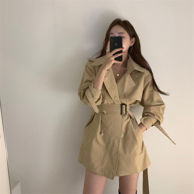 Hzirip Comfortable Gentle All-Match 2020 Chic Elegant Windbreaker Brief Office Lady Fashion   Trench   Loose Lace-Up Casual Overcoat
