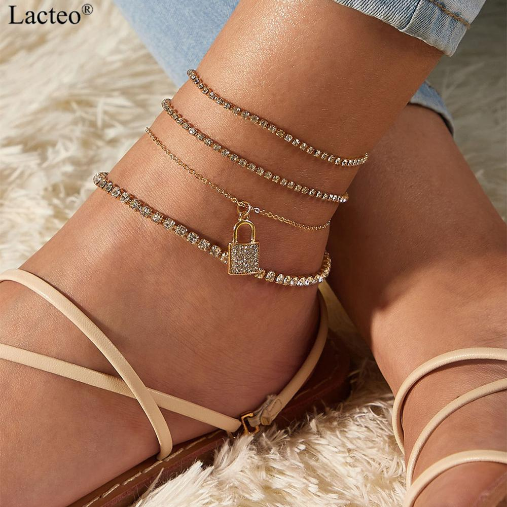 Lacteo Boho Shiny Rhinestone Anklet Bracelet Charm Lxuruy Bling Crystal Lock Dangle Barefoot Sandals ankle Foot Beach Jewelry