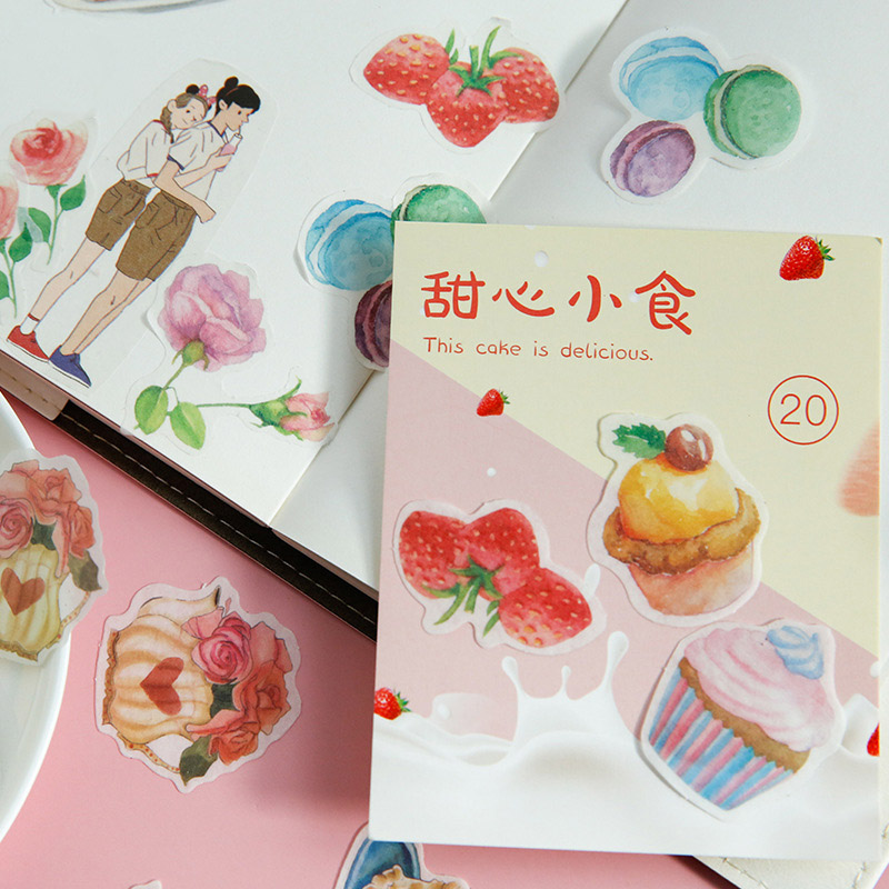 40Pcs Cute Decorative Stickers Kawaii Cake Stationery Stickers Paper Adhesive Sticker For Kids DIY Scrapbooking Diary Supplies