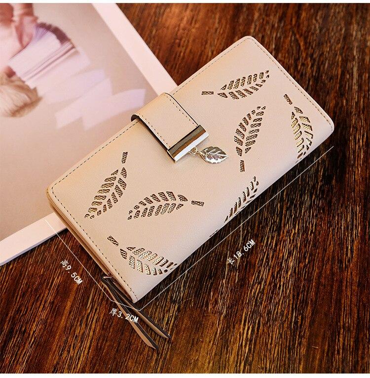 Женский кошелек из искусственной кожи, Женский Длинный кошелек с золотыми полыми листьями, Сумочка для женщин, кошелек для монет, держатель для карт, клатч - Цвет: Khaki