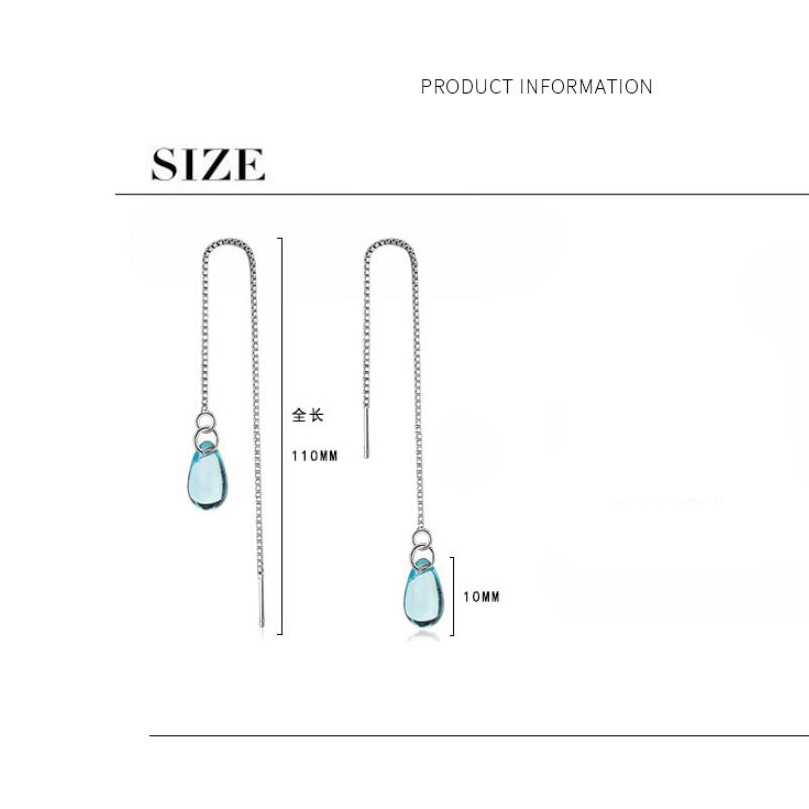 Купить с кэшбэком New Sweet Blue Crystal Water Drop Earrings For Women  Silver Color Pendientes Wth Long Style Fashion Jewelry Gift Brincos