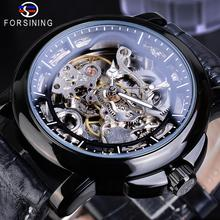 Forsining Fashion Automatic Mechanical Mens Watch Leather Strap Casual Skeleton Clock Waterproof Luminous Hands Man Wristwatches forsining fashion creative automatic mechanical watch men skeleton tonneau dial leather strap unique casual watches dropshipping