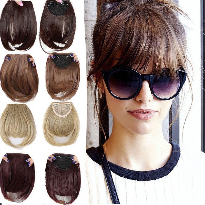 S-noilite Natural Bang False Hair Bangs Black Brown Auburn Red Clip In On Synthetic Hair Fringe Clip In Bangds For Women