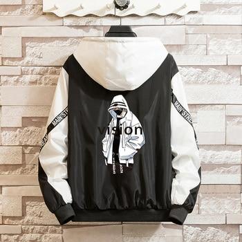 LES KOMAN Spring Autumn New Men Jacket Fashion Printing Casul Streetwear Hooded Splice Sports Coats Outwear S-5XL 1