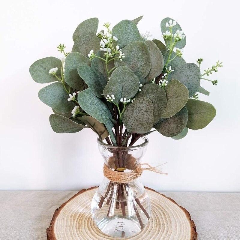 5Pcs Künstliche Eukalyptus Blätter Künstliche Pflanzen für Blumen Bouquets Vorbauten Eucalipto Niederlassungen Hochzeit Dekoration Wohnkultur
