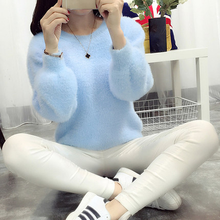 Aihuyigui 2019 Autumn Winter Women Pullovers Pink White Sweater Mohair O-ncek Loose Lantern Sleeve Candy Collor Sweater Tb105