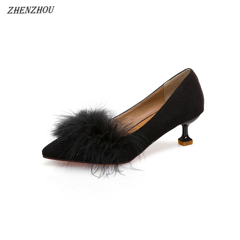 ZHENZHOU shoes Women Pumps high heels autumn 2018 new female scoop shoes small with single shoes female 5cm cat with shoes 20