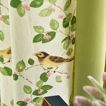 Little Bird Green Leaf Printing Curtains for Living Room Bedroom Balcony Thick Linen Fabric Modern Fresh and Simple