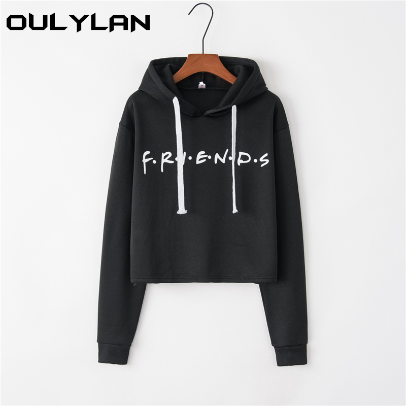 Oulylan Autumn Women Friends Hoodies Harajuku Letters Print Pullovers Tops Hip Hop Solid Female Sweatshirts