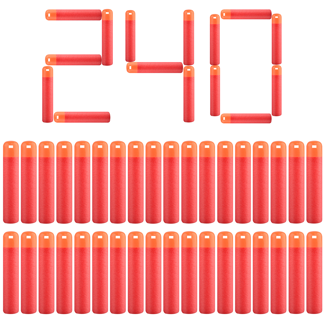 30pcs/60pcs/120pcs/240pcs Soft Bullet Hollow Soft Head Foam Bullets For Nerf  For Mega Series - Red