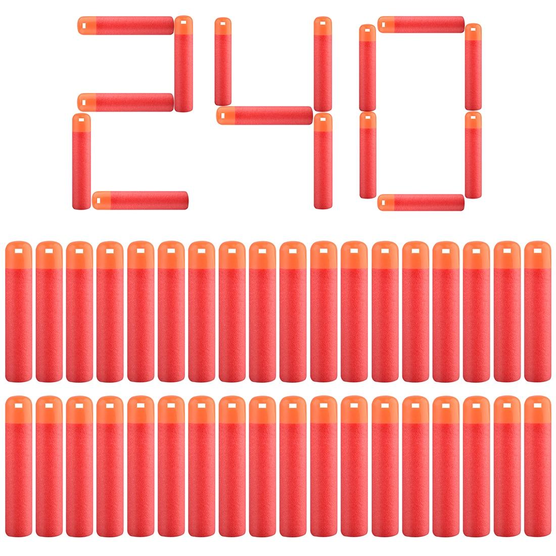 30pcs/60pcs/120pcs/240pcs Soft Bullet Hollow Soft Head Foam Bullets For Nerf  For Mega Series - Red