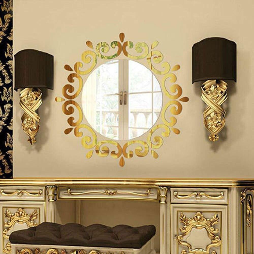 24 шт Акриловые 3D зеркальные настенные наклейки, настенные украшения для дома и ванной комнаты - Цвет: gold color