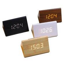 Цифровые деревянные часы электронные светодиодный Время Температура