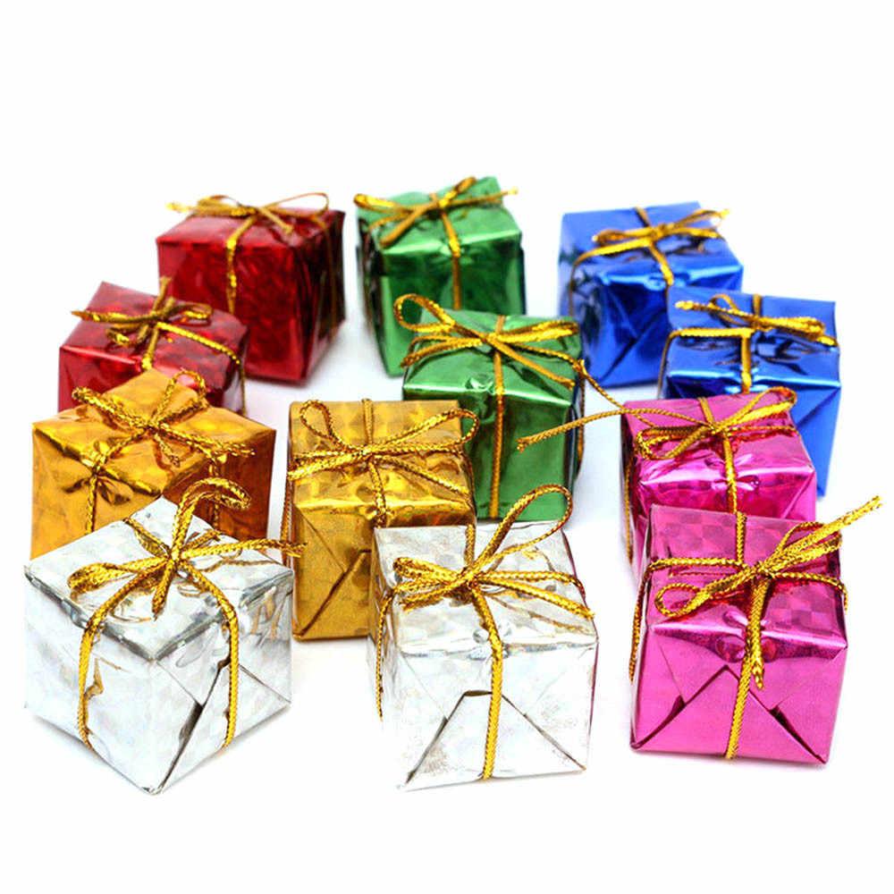 MINI 12pcs เครื่องประดับคริสต์มาสโฟมของขวัญกล่อง 2019 ของขวัญ Xmas Tree แขวนตกแต่งภายในสำหรับ Home ใหม่ใช่ новогодние украшения
