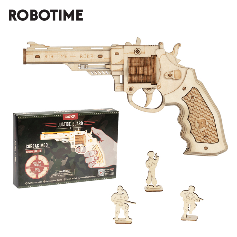 Robotime Revolver Gun Model Toys 3D Wooden Puzzle Games Crafts Gift For Children Kids Boys Birthday Gift