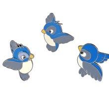 Мультяшная Летающая синяя птица на булавке с птицами на лацкане, броши, значок для одежды, для женщин, девушек, рубашки, сумки, Милая брошь, украшение
