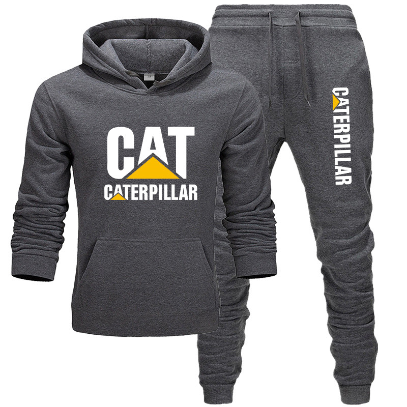 2 Pieces Sets Tracksuit Men Cat Caterpillar Autumn Winter Hooded Sweatshirt +Drawstring Pants Male Hoodies Bigsweety