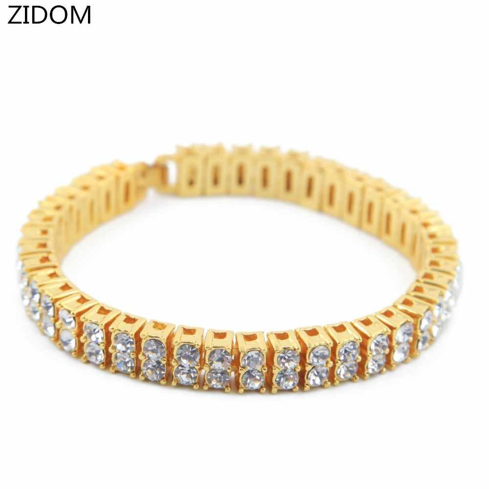 Мужские золотые браслеты в стиле хип-хоп, 2 ряда, длина 20,5 см, цепочка и звенья, шикарный браслет, Женские Ювелирные изделия, Прямая поставка