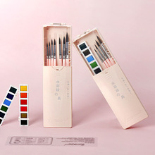Portable Travel Solid Pigment Watercolor Paints and Watercolor brush Set for Student Drawing Art Supplies