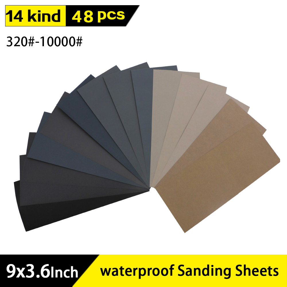 "48pcs 9""x3.6"" Wet Dry Sandpaper 320 To 10000 Assorted Grits For Wood Furniture Finishing, Metal Sanding And Automotive Polishing"