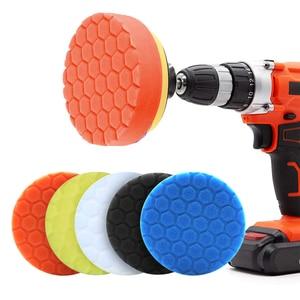Image 4 - 5pcs Hexagonal Polished pad set Sponge Disc Buffing Sponge Waxing Polishing Pad Kit Set For Car Polisher Buffer 3/4/5/6/inches