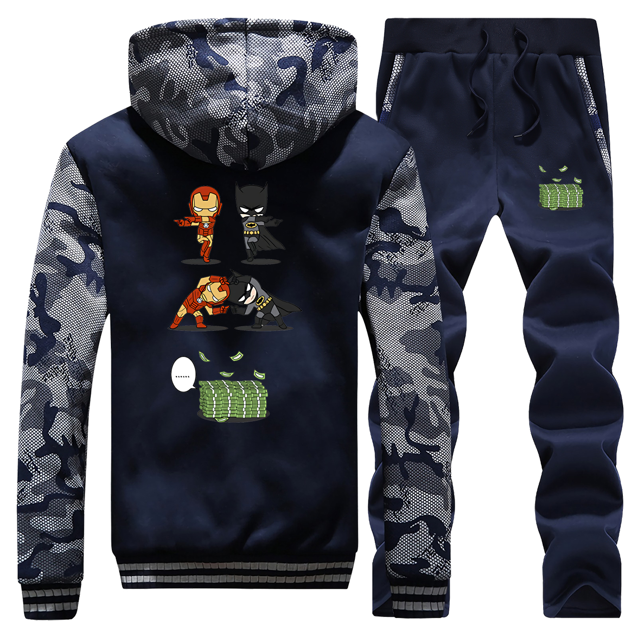 2019 Winter New Billionaires Iron Man And Batman Cartoon Jacket Sportswear Mens Hoodie Camouflage Coat Thick+Pants 2 Piece Set