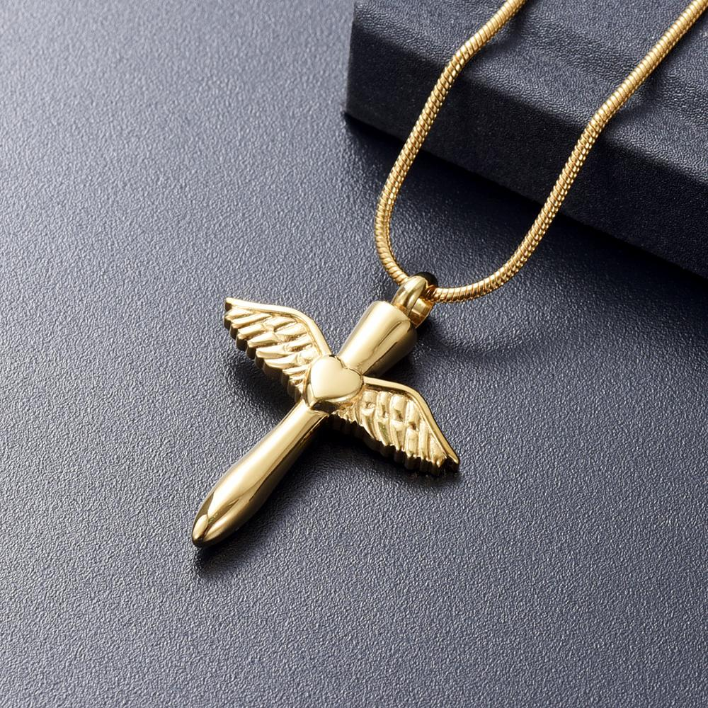 IJD12240 Stainless Steel Angel Wings Heart Cross Cremation Jewelry Pendant for Pet/Human Memorial Ash Keepsake Necklace 1