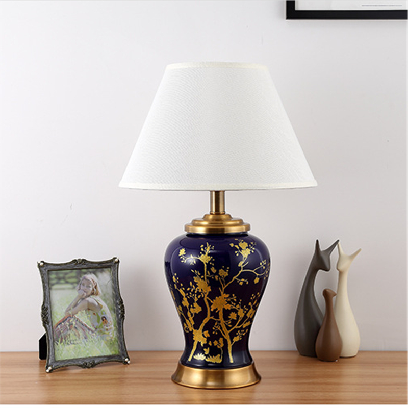 American Style Handpainted Flowers Ceramic Table Lamp For BedRoom Bedside Living Room Foyer Study Desk Reading Night Light TD051|Table Lamps| |  - title=