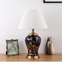 Amerikanischen Stil Handgemalte Blumen Keramik Tisch Lampe Für Schlafzimmer Nacht Wohnzimmer Foyer Studie Schreibtisch Lesen Nacht Licht TD051