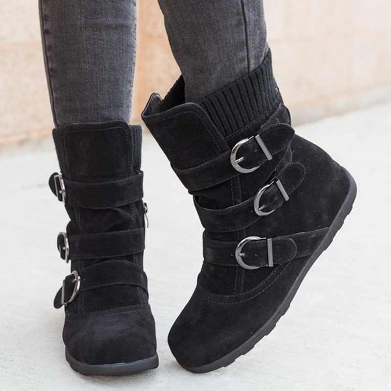 Jodimity inverno botas femininas meados de bezerro para baixo botas de alta bota senhoras à prova dwaterproof água sapatos de inverno de neve mulher palmilha de pelúcia botas mujer