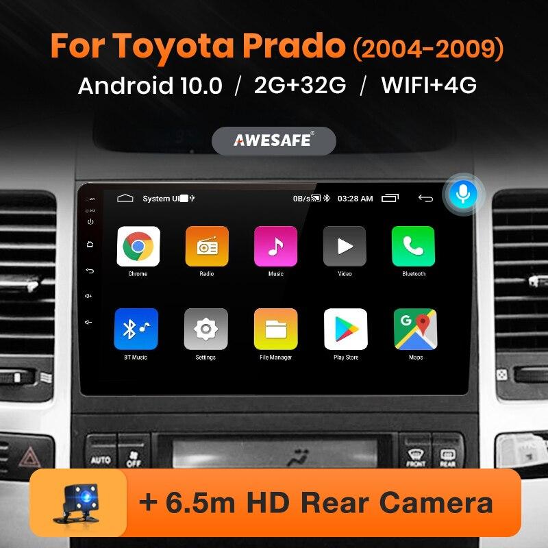 Awesafe px9 para toyota land cruiser prado 120 2004 -2009 rádio do carro reprodutor de vídeo multimídia navegação gps nenhum 2din dvd android 10