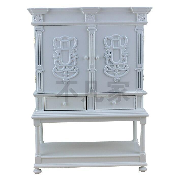 Meubles de poupée 1/6 échelle blanc bien main armoire de collection de tiroir en bois