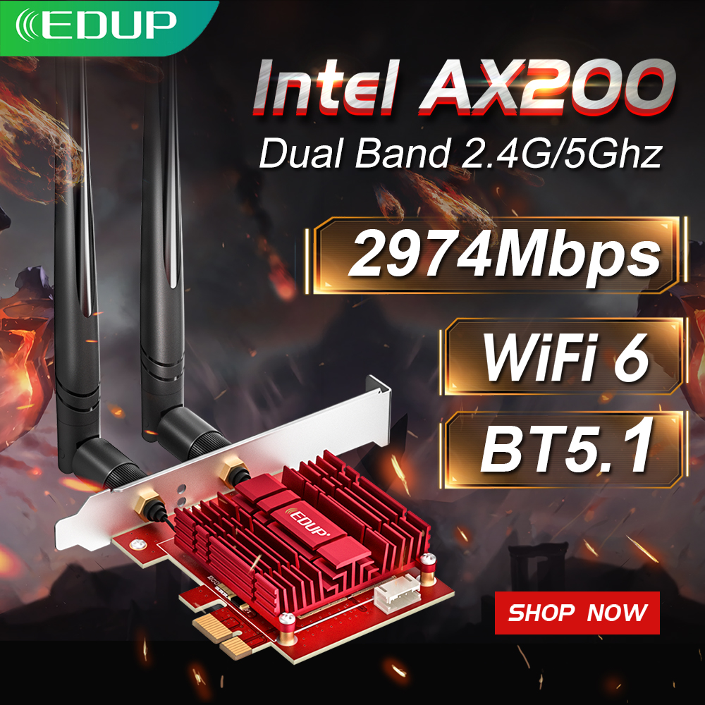 EDUP 3000Mbps WiFi 6 PCI Express Bluetooth 5 1 Adapter Dual Band 2 4G 5GHz 802 11AC AX Intel AX200 PCIe Wireless Network Card