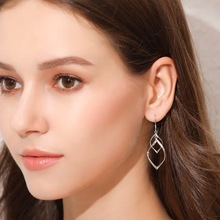 2019 Fashion Double Loop Earrings For Women Long Wave  High Quality Statement Wedding Jewelry Wholesale