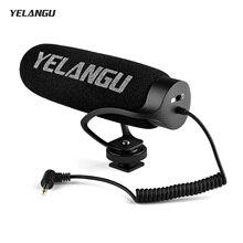 YELANGU MIC08 על מצלמה הקבל מיקרופון רעש הפחתת וידאו מיקרופון עם Intergrated הלם הר 3.5mm TRRS כבל אוניברסלי