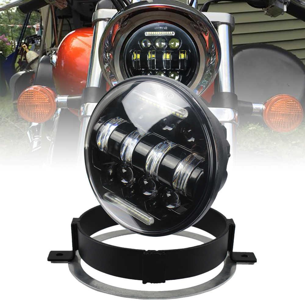 Red Atubeix 5.75 inch Round LED motorcycle Headlight with Ring Mounting Headlight Bracket Fit for 2002-2009 Honda VTX 1300 /& Honda VTX 1800