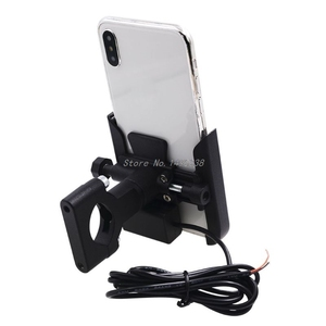 Image 4 - Universal Motorcycle Bike Handlebar Mobile Phone Holder Stand Mount Bracket with USB Charger for 4 6.5inch Cellphone Whosale
