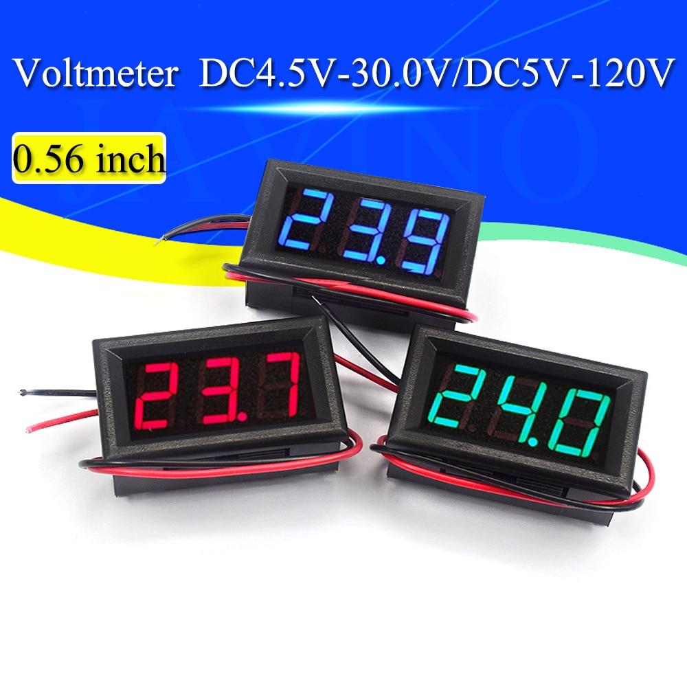 Цифровой вольтметр постоянного тока от 4,5 в до 30 В, цифровой вольтметр, панельный измеритель напряжения, красный/синий/зеленый для 6 в, 12 В, Эл...
