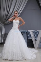 free shipping 2016 dkristen stewart esign girls' dress with train lace up appliques tulle fabric bridal gown white wedding dress