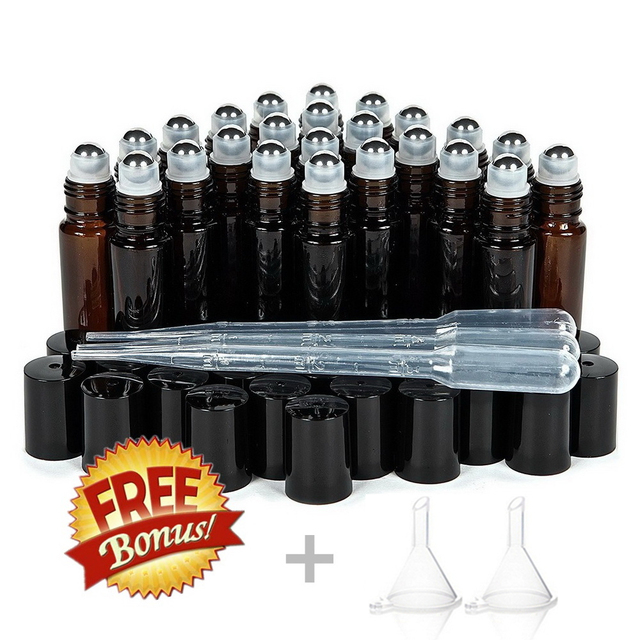 24pcs 10ml Amber Glass Roll On Bottle Empty Vials with Stainless Steel Metal Roller Ball for Essential Oils Perfume Aromatherapy