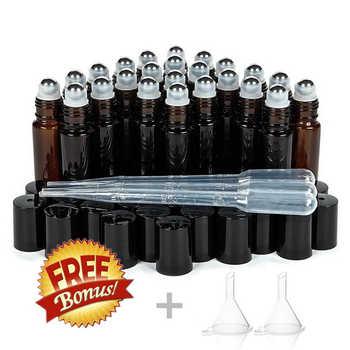 24pcs 10ml Ambra Fiale di Rullo di Vetro Sulla Bottiglia di Vuoto con Metallo In Acciaio Inox A Sfera Roller per Gli Oli Essenziali profumo Aromaterapia