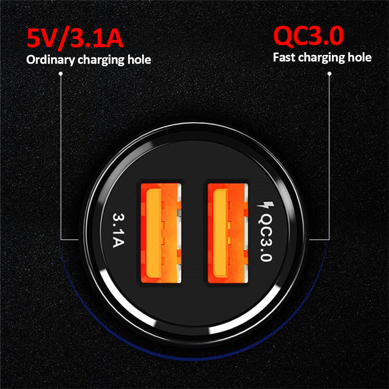 1Pcs Car Charger Car Cigarette Lighter Socket QC3.0 Universal Dual USB Fast Charge Car Charger Adapter Socket Car accessories