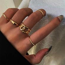 VAGZEB 2021 New Fashion 5 pcs/set Punk Vintage Ring Set Gold Silver Color Knuckle Joint Rings for Women