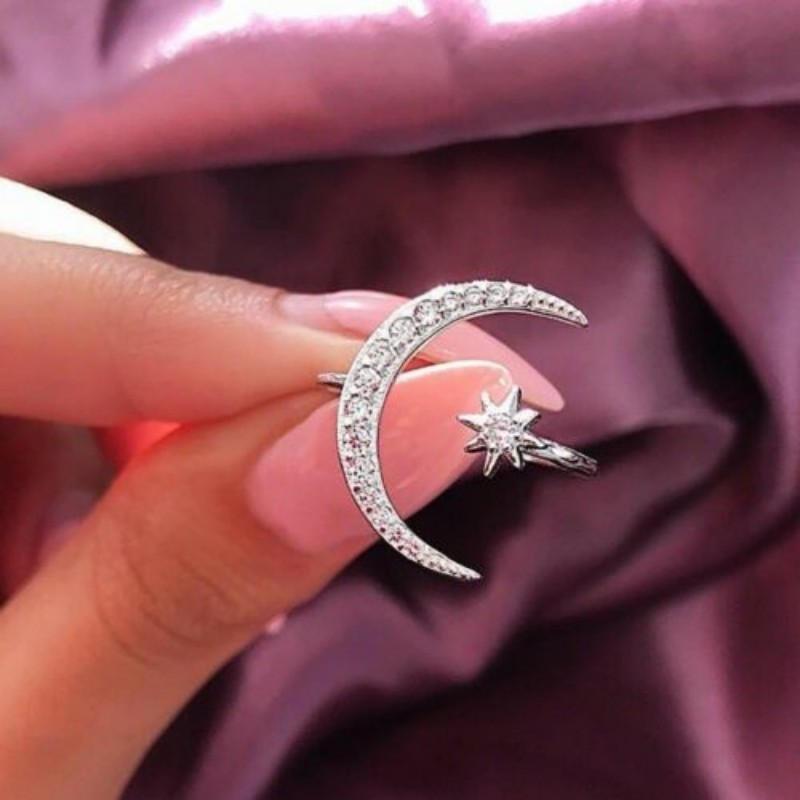 Adjustable Open Ring Crescent Shiny Moon And Tiny Star Rhinestone Crystal Ring For Women Girls Jewlery Gold Silver Rings 4