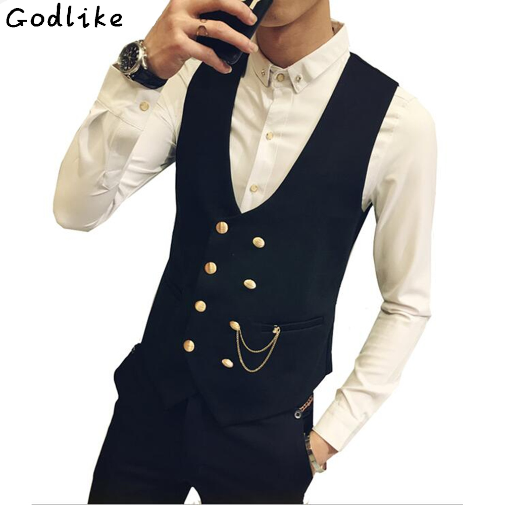 2018 Mens Vests And Waistcoats Slim Fit Masculino Cotton Double Breasted Sleeveless Jacket Waistcoat Suit Collar Men Suit Vest
