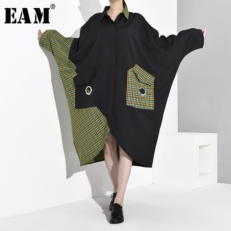 [EAM] Women Green Plaid Big Size Shirt Dress New Lapel Long Batwing Sleeve Loose Fit Fashion Tide Spring Autumn 2020 1B932