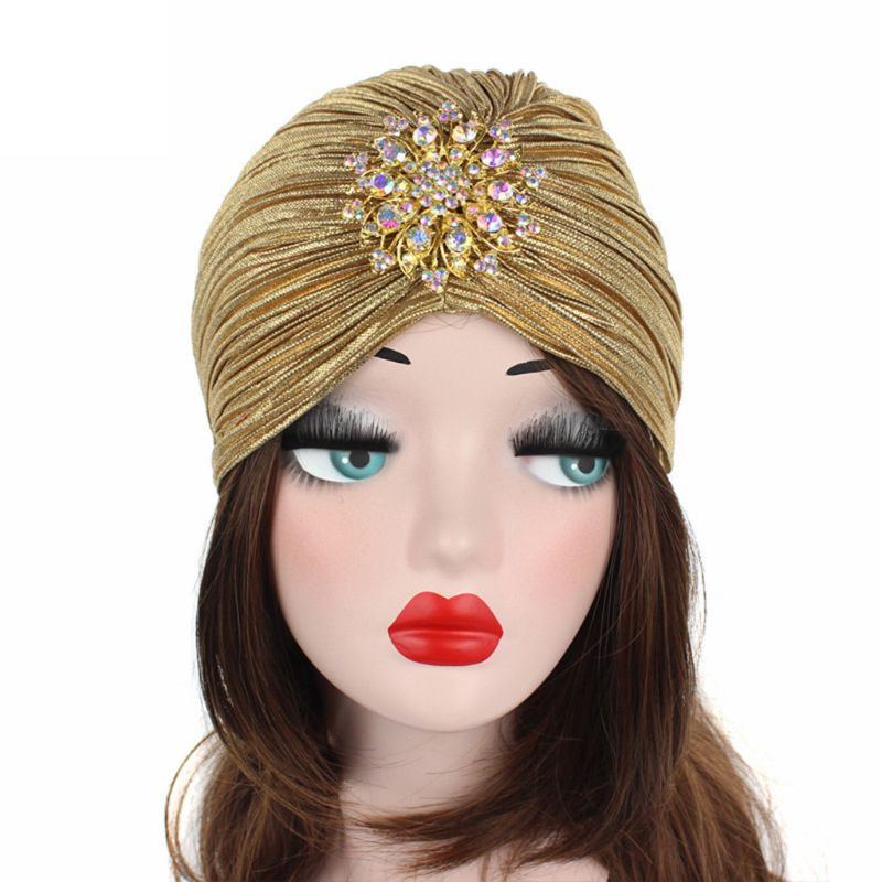 1PC Women Indian Turban Hat Head Wrap Pleated Soft Velvet Hair Hijab Cap with Brooch 4 Colors