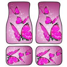 цена на INSTANTARTS Floor Mats for Car Pink Cute Animal Butterfly Pattern Fashion 4pcs/Set Car Trunk SUV Floor Mats Non Slip Carpet Rug