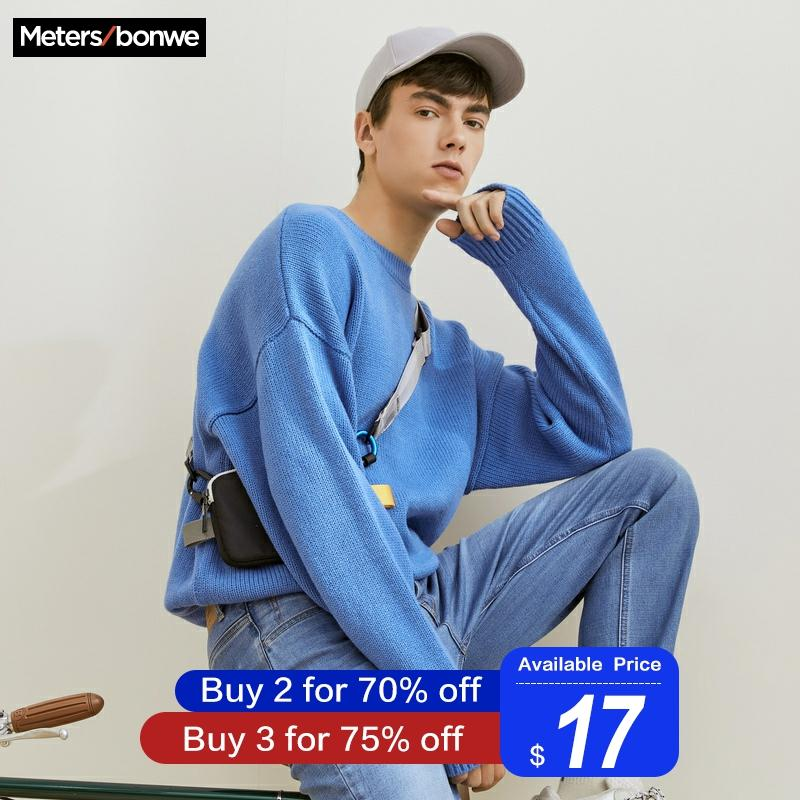 Metersbonwe Brand 2020 Spring New Sweater Men Fashion Long Sleeve Knitted Men Cotton Sweater High Quality Clothes