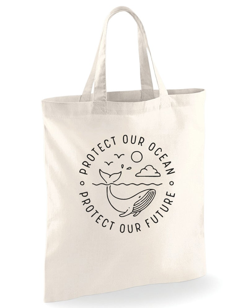 Protect Our Ocean Protect Our Future Organic Cotton Shoulder Tote Bag shopping bags Travel bag Cosmetic bag handbag with zipper
